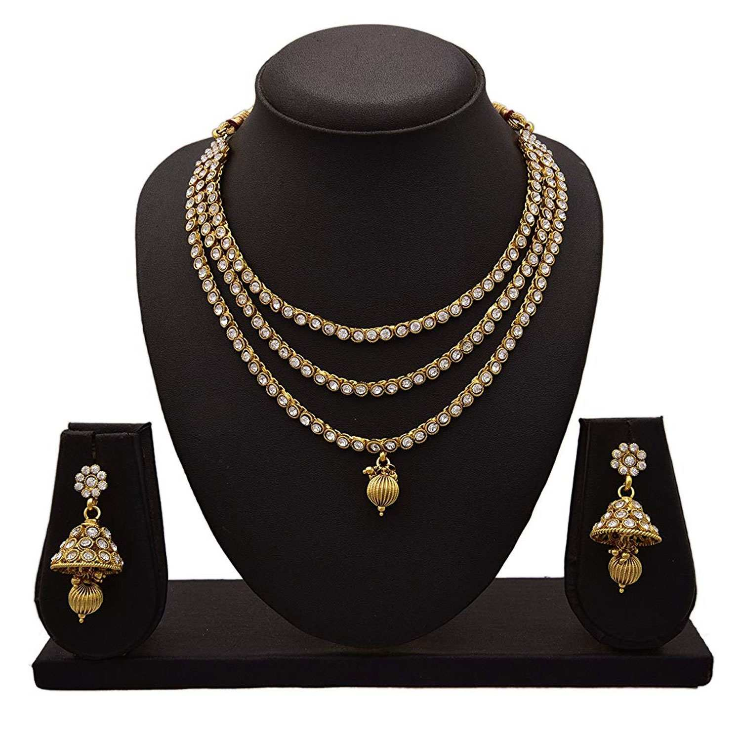 JFL - Traditional Irresistible One Gram Gold Plated White Austrian Diamond Designer Necklace Set for Women & Girls.