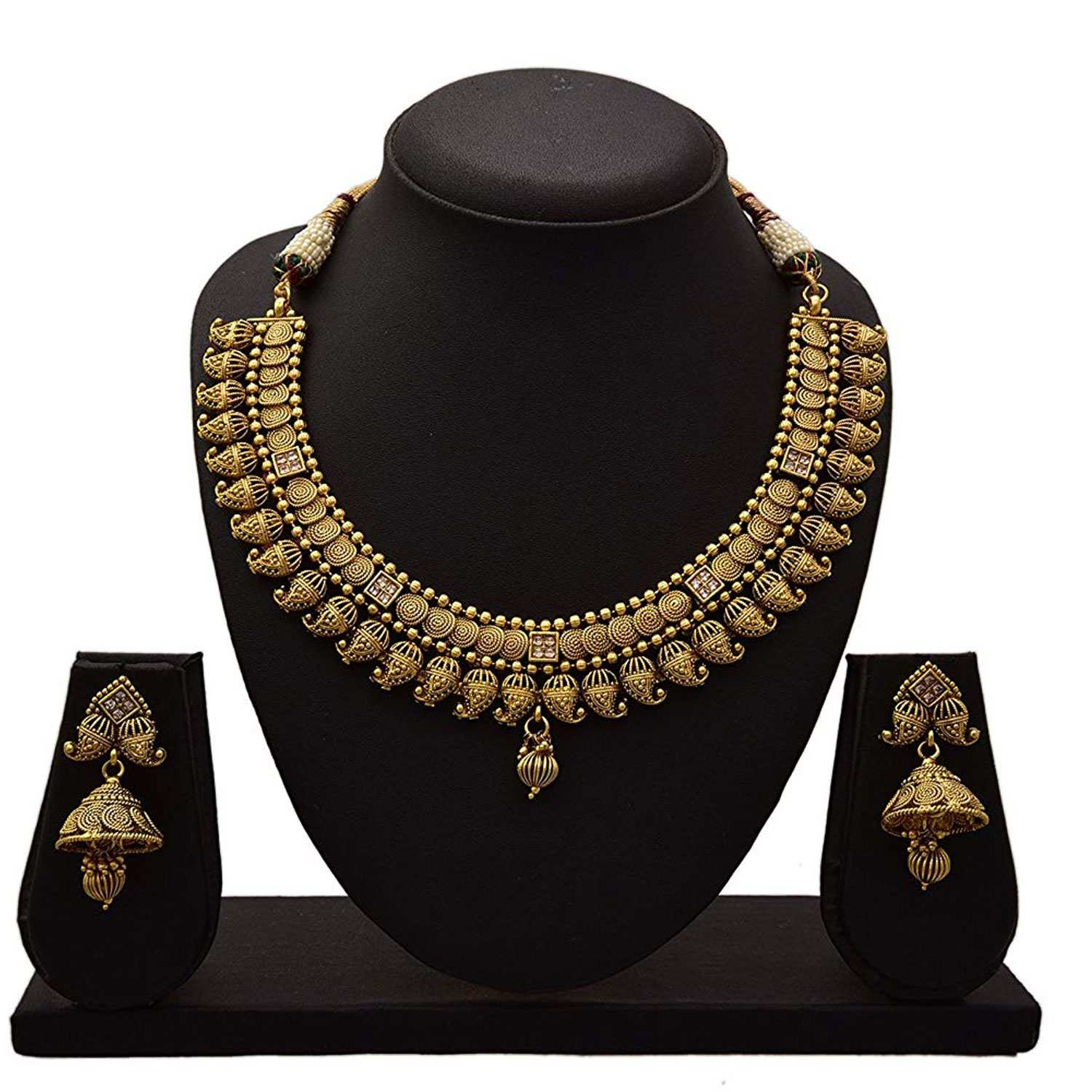 JFL - Traditional  Kaerie One Gram Gold Plated LCD Diamond Designer Necklace Set with Jhumka Earrings for Girls and Women