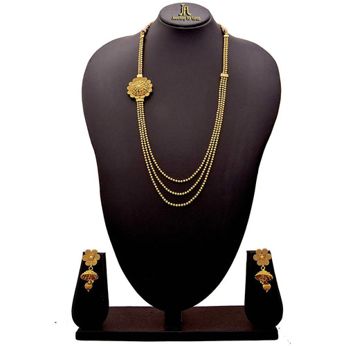 JFL - Jewellery for Less Traditional Ethnic 1 g Gold Plated Beaded Spiral Multi Layered Long Necklace Set with Jhumka Earrings for Women & Girls
