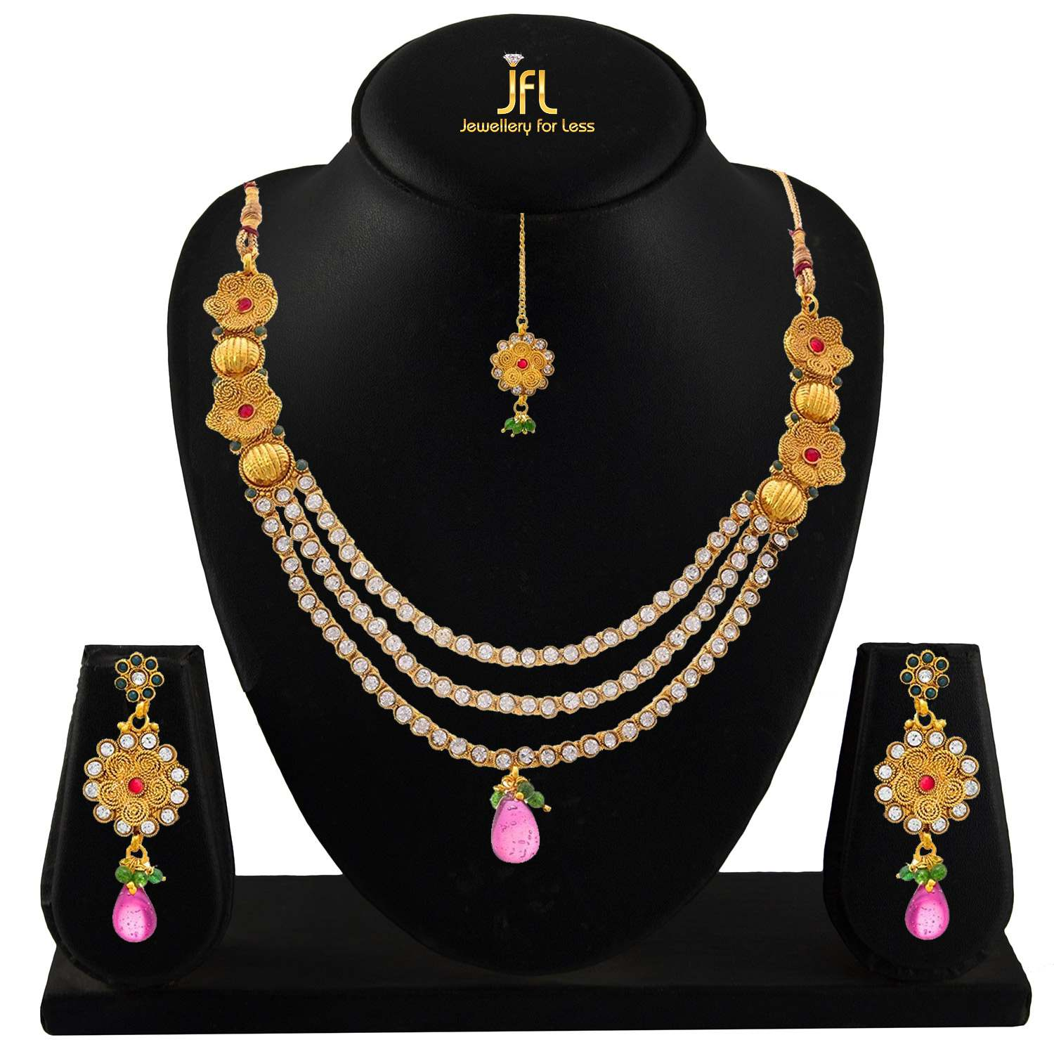 JFL - Traditional Ethnic Multi Strands Austrian Diamond One Gram Gold Plated Red Designer Necklace Set for Women & Girls