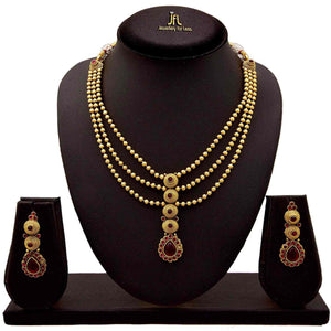 JFL - Traditional Ethnic One Gram Gold Plated Color Stone Designer Necklace Set with Earring for Women and Girls.