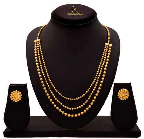 JFL - Jewellery for Less Gold Plated Necklace & Earrings Set for Women & Girls.
