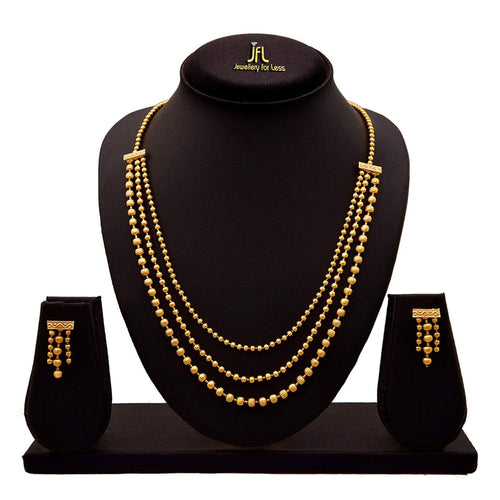 One Gram Gold Plated Multi Strands Round Gold Bead Necklace With Earrings Set For Women