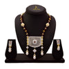 JFL - Fusion Ethnic One Gram Gold Plated Cz American Diamonds & Pearls Designer Necklace Set for Women & Girls