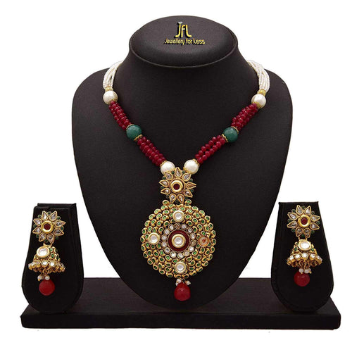 JFL - Traditional Ethnic One Gram Gold Plated Stones & Diamonds Designer Long Necklace Set with Earring for Women & Girls.