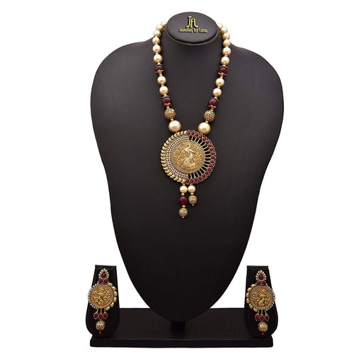 JFL - Traditional Ethnic One Gram Gold Plated Red Stones & Pearls Peacock Designer Necklace Set with Earring for Women & Girls.