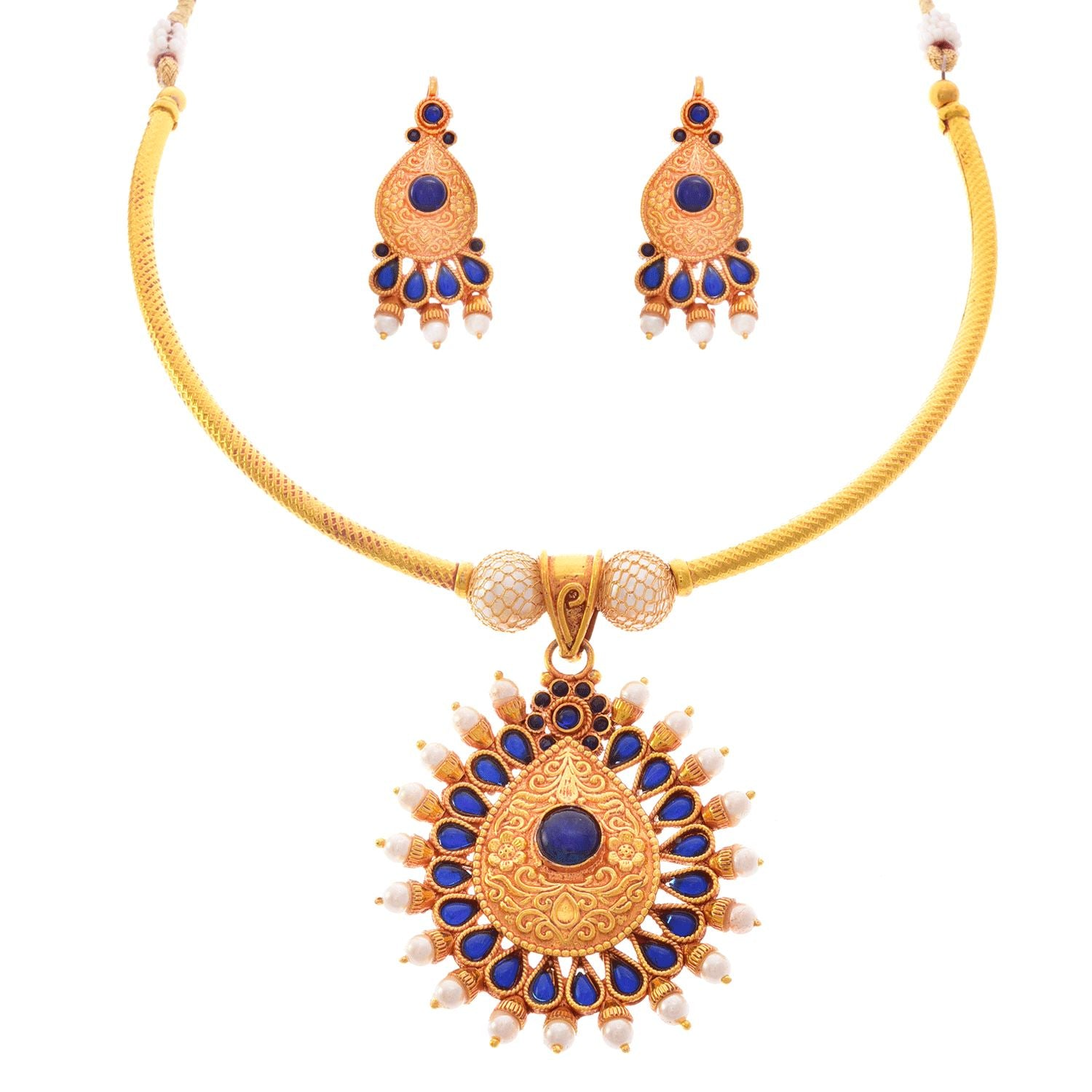 JFL - Traditional Ethnic Kemp One Gram Gold Plated Blue Stone & White Pearl Designer Necklace Set with Earring for Women and Girls