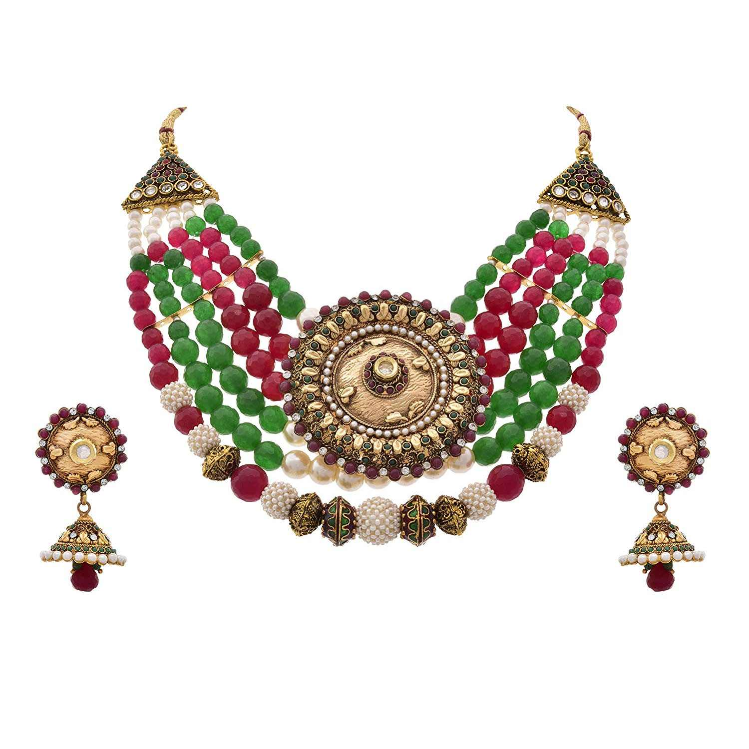 JFL - Traditional, Ethnic, Antique One Gram Gold Plated Bead Pink & Green Stone Pearl Designer Necklace Set with Earring for Girls and Women