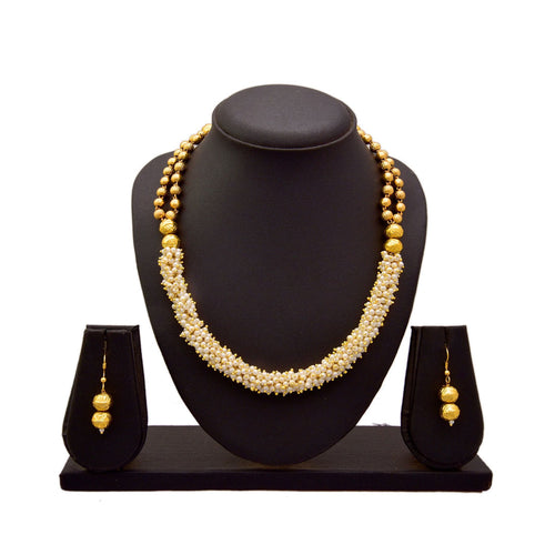 JFL - Jewellery for Less 1 g Gold Plated Pearls and Bead Designer Necklace Set with Earrings for Women