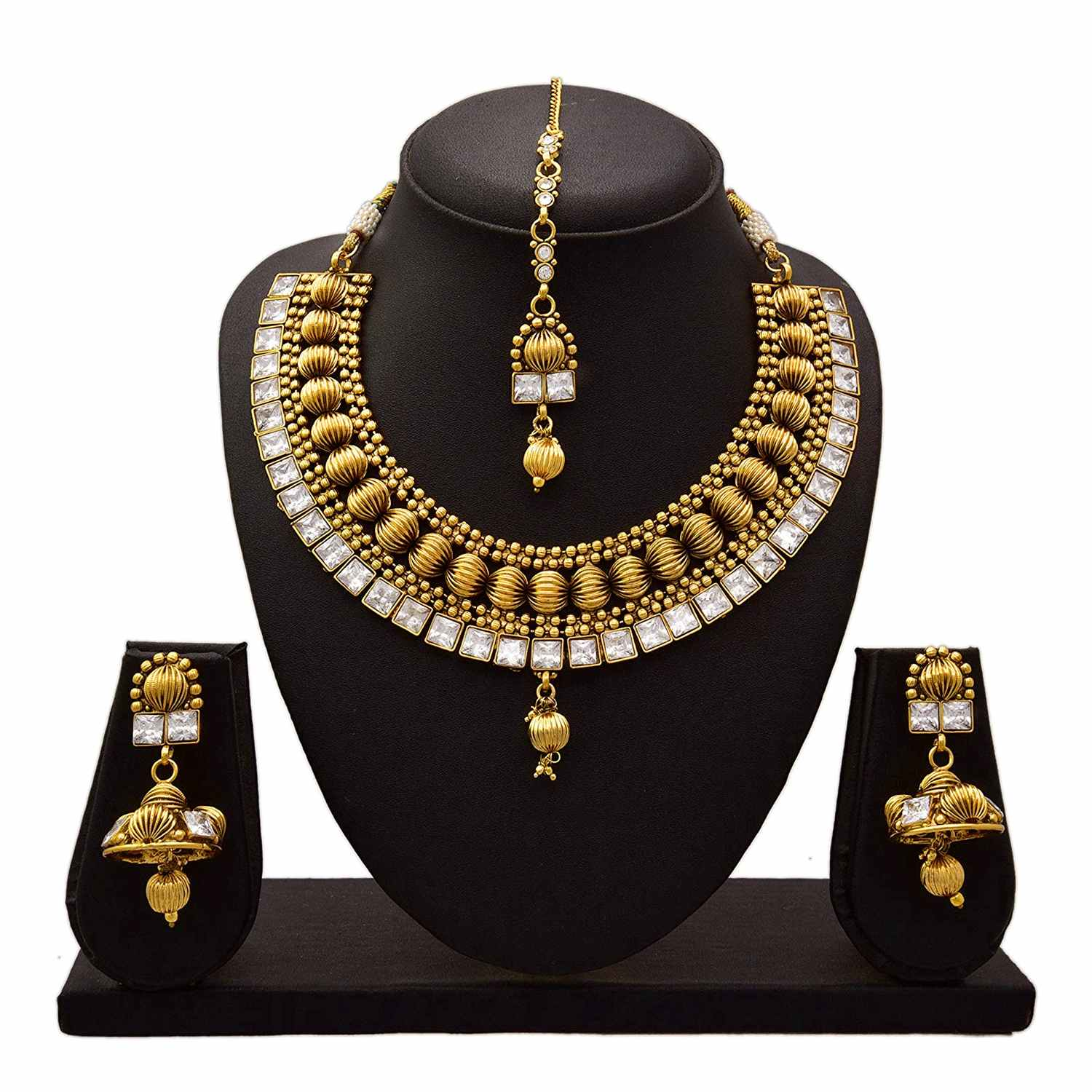 JFL - Traditional Ethnic One Gram Gold Plated Diamond Designer Necklace Set with Earring for Women and Girls.