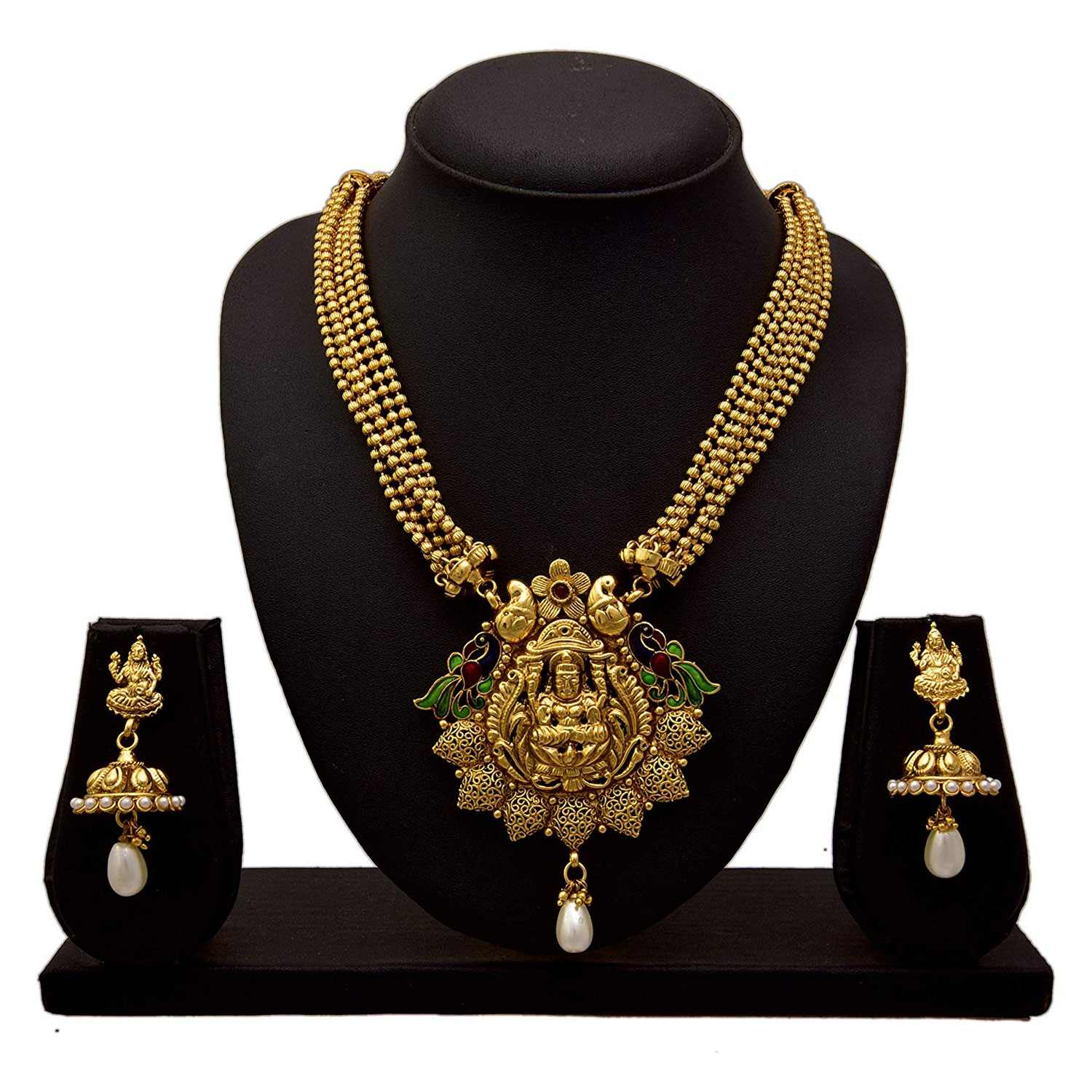 JFL - Traditional Ethnic One Gram Gold Plated Temple Laxmi Goddess Pearl & Stone Peacock Designer Necklace Set with Earring for Women & Girls.