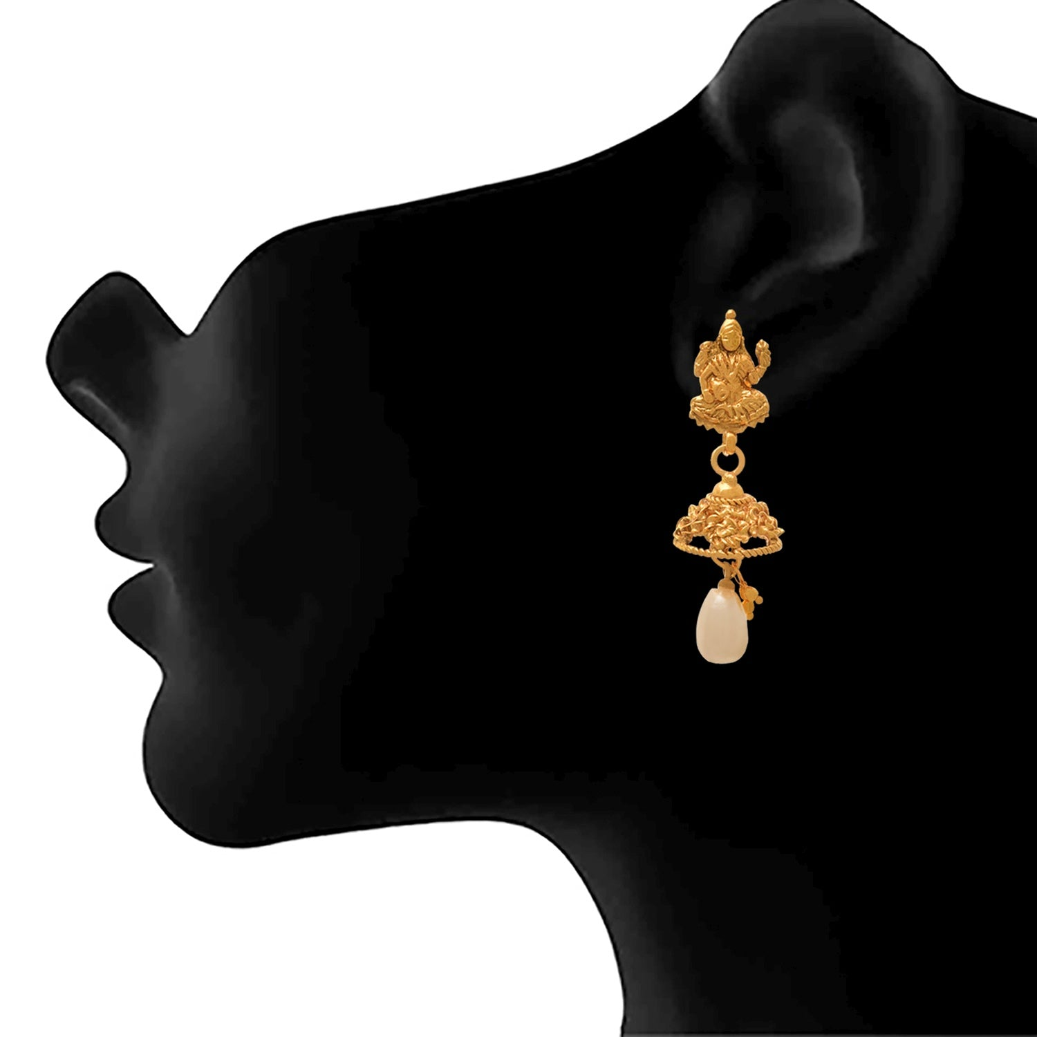 JFL - Jewellery for Less Traditional Ethnic Temple Goddess Laxmi One Gram Gold Plated Necklace Set With Earring for Women & Girls
