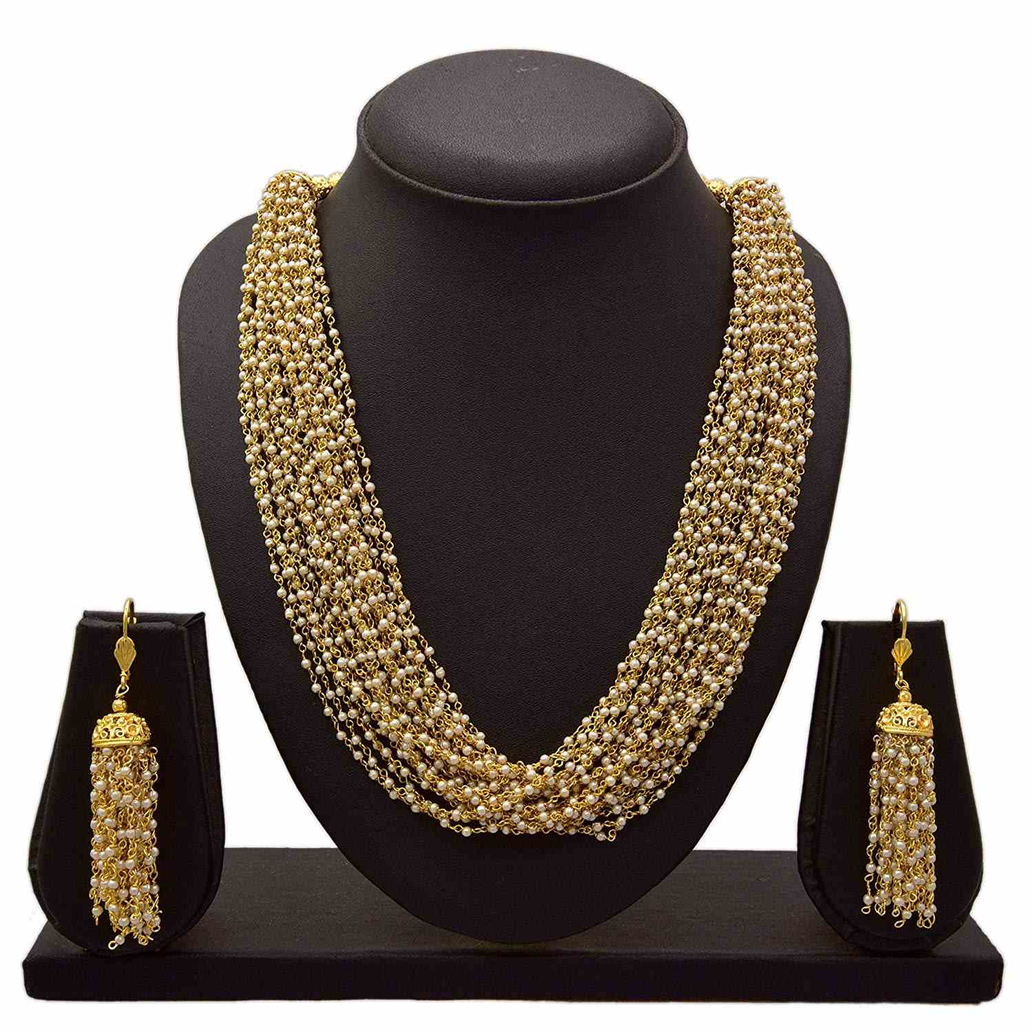 JFL - Traditional Ethnic One Gram Gold Plated Multi Stand Designer Necklace Set with Earring for Women & Girls