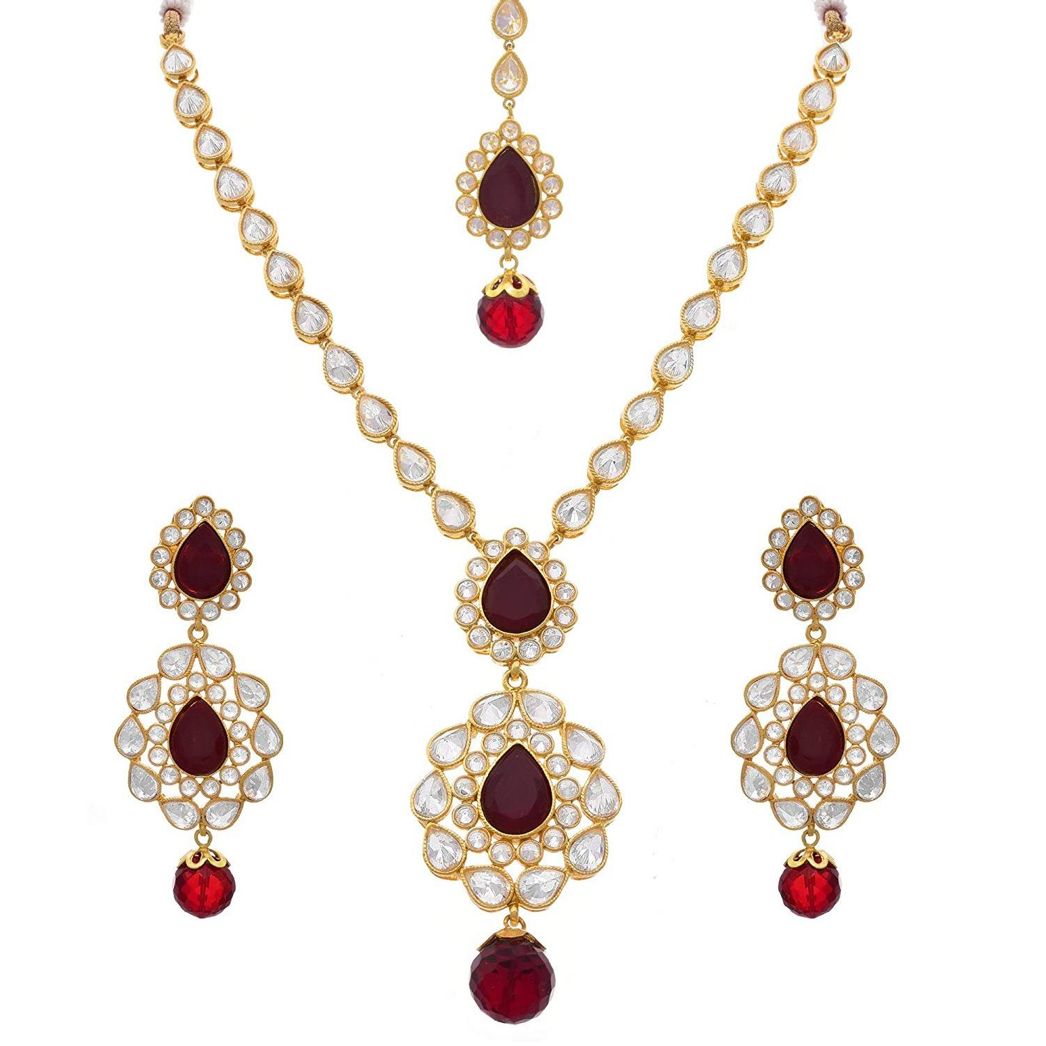 JFL - Traditional Ethnic One Gram Gold Plated Cz Polki Diamond Red Designer Necklace Set with Earring & Maang Tikka for Women & Girls