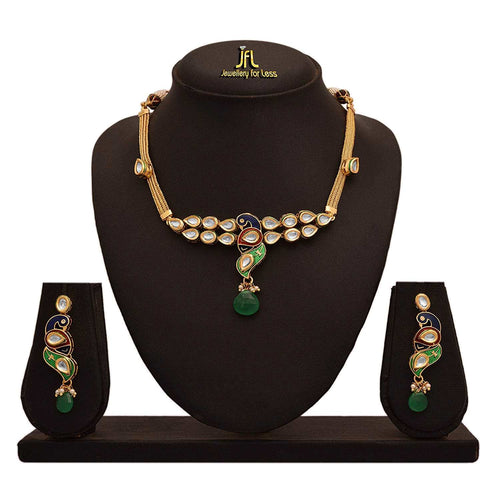JFL - Traditional Ethnic One Gram Gold Plated Kundan Peacock Green Designer Necklace Set with Earring for Women & Girls