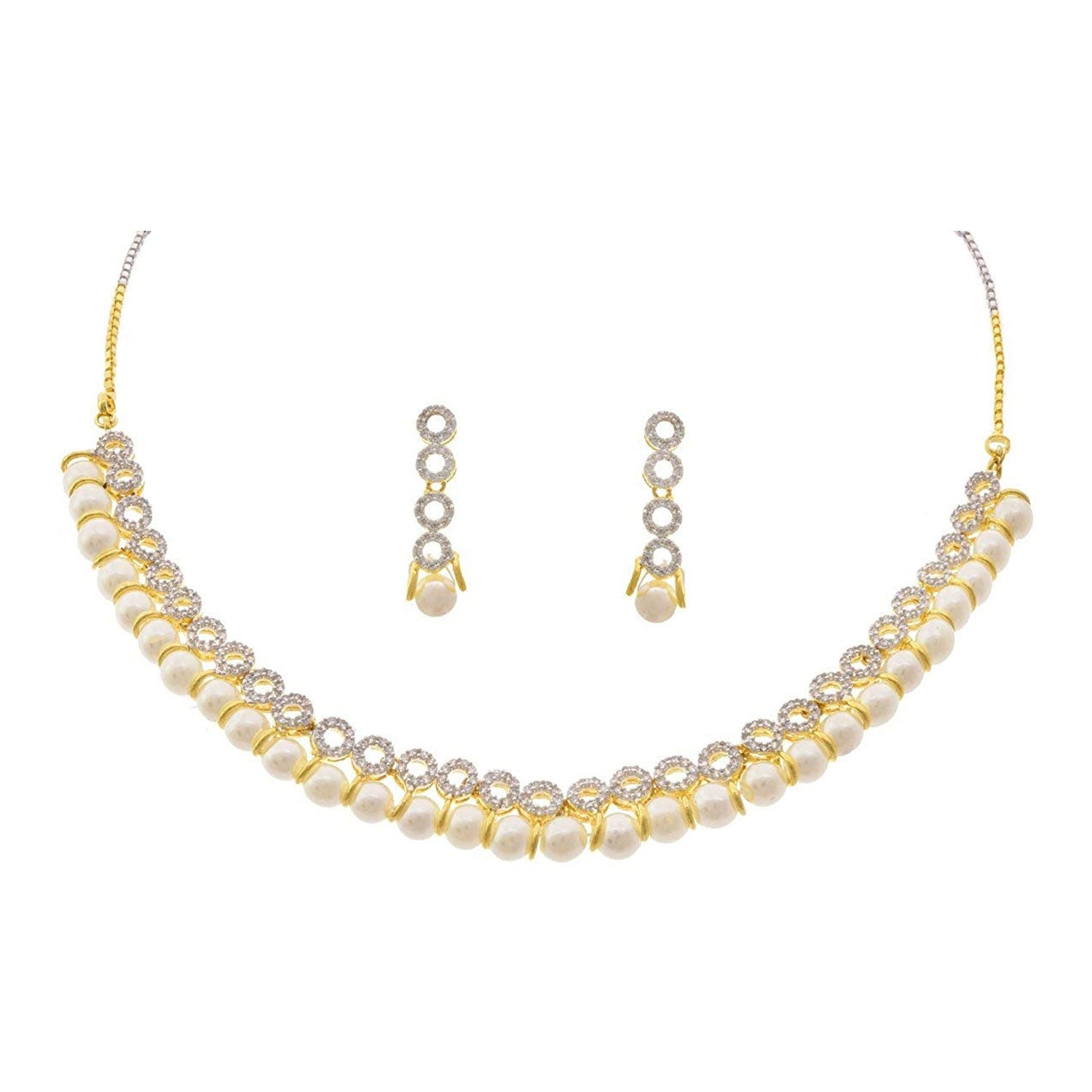 JFL - Captivating White Cz American Diamond Pearl Ethnic Fusion One Gram Gold Plated Designer Necklace Set for Women & Girls