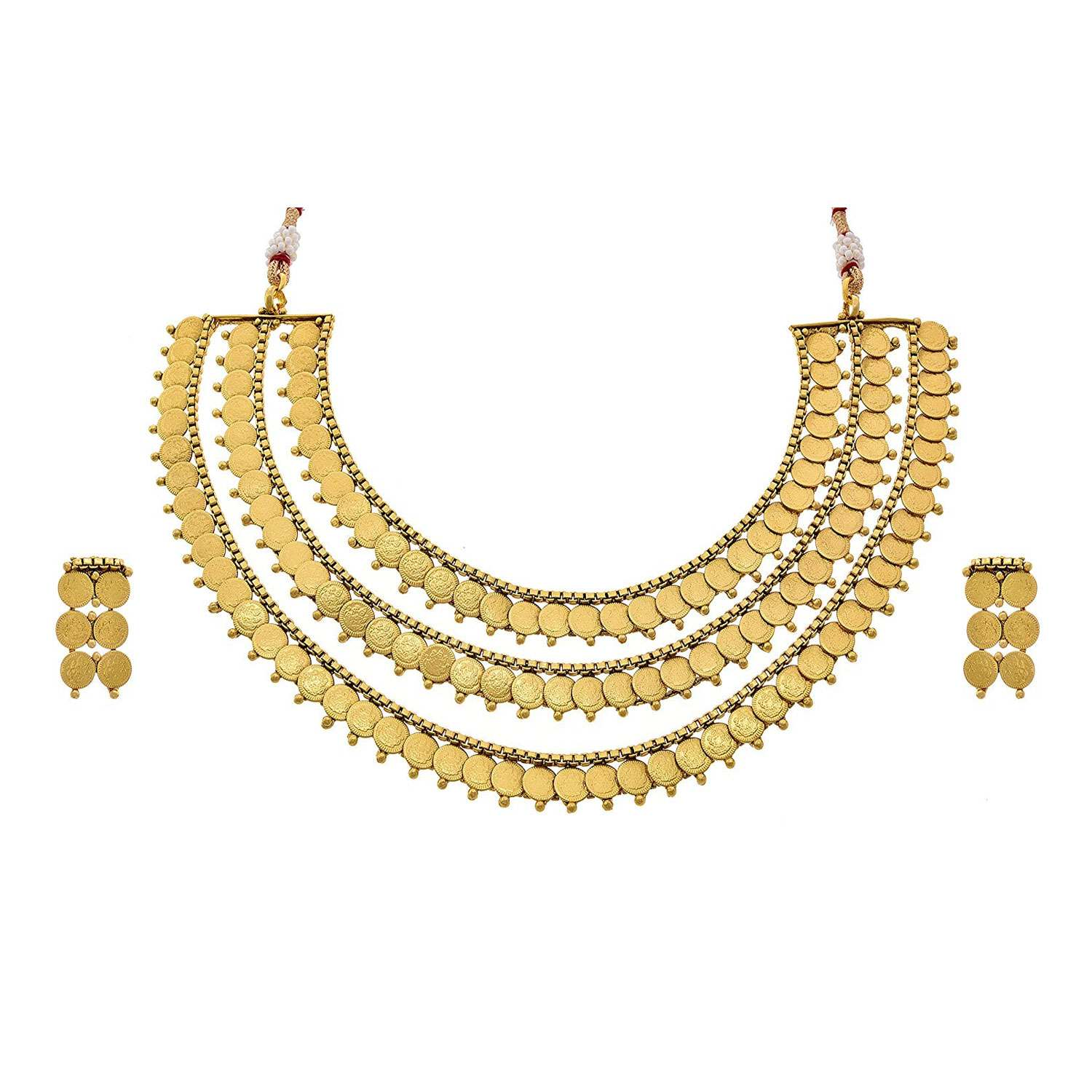 JFL - Traditional Ethnic Temple Laxmi Goddess Coin One Gram Gold Plated Designer Necklace Set for Women and Girls