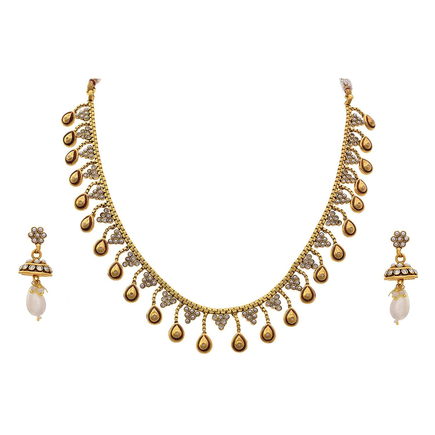 JFL - Traditional Ethnic One Gram Gold Plated Pearls Diamond Designer Necklace Set for Women & Girls.
