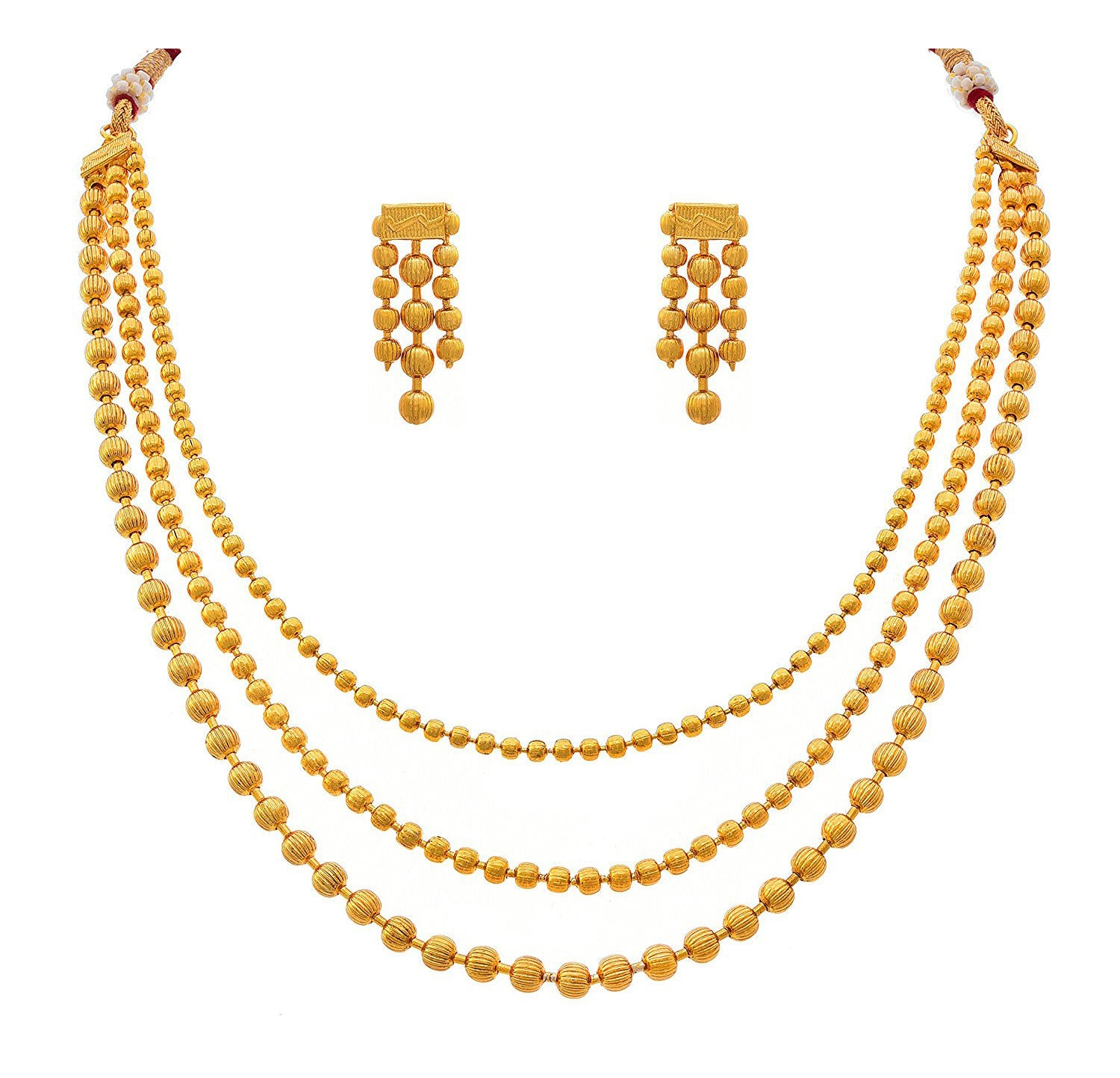 One Gram Gold Plated Multi Strand Gold Bead Necklace Set With Thread Behind And Earrings For Women