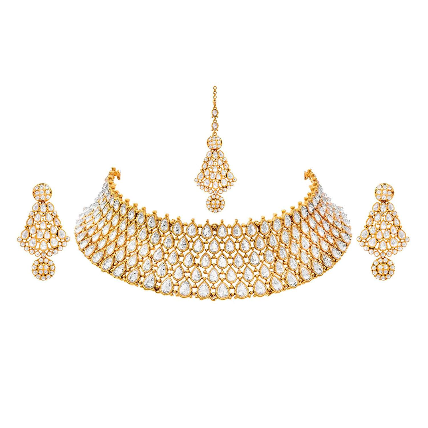 JFL - Traditional Ethnic One Gram Gold Plated Polki Diamond Kundan Designer Necklace Set with Earrings for Women & Girls