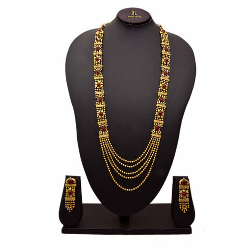 Traditional and Ethnic One Gram Gold Plated Red Stones & Diamonds Designer Long Necklace Set with Earring for Women