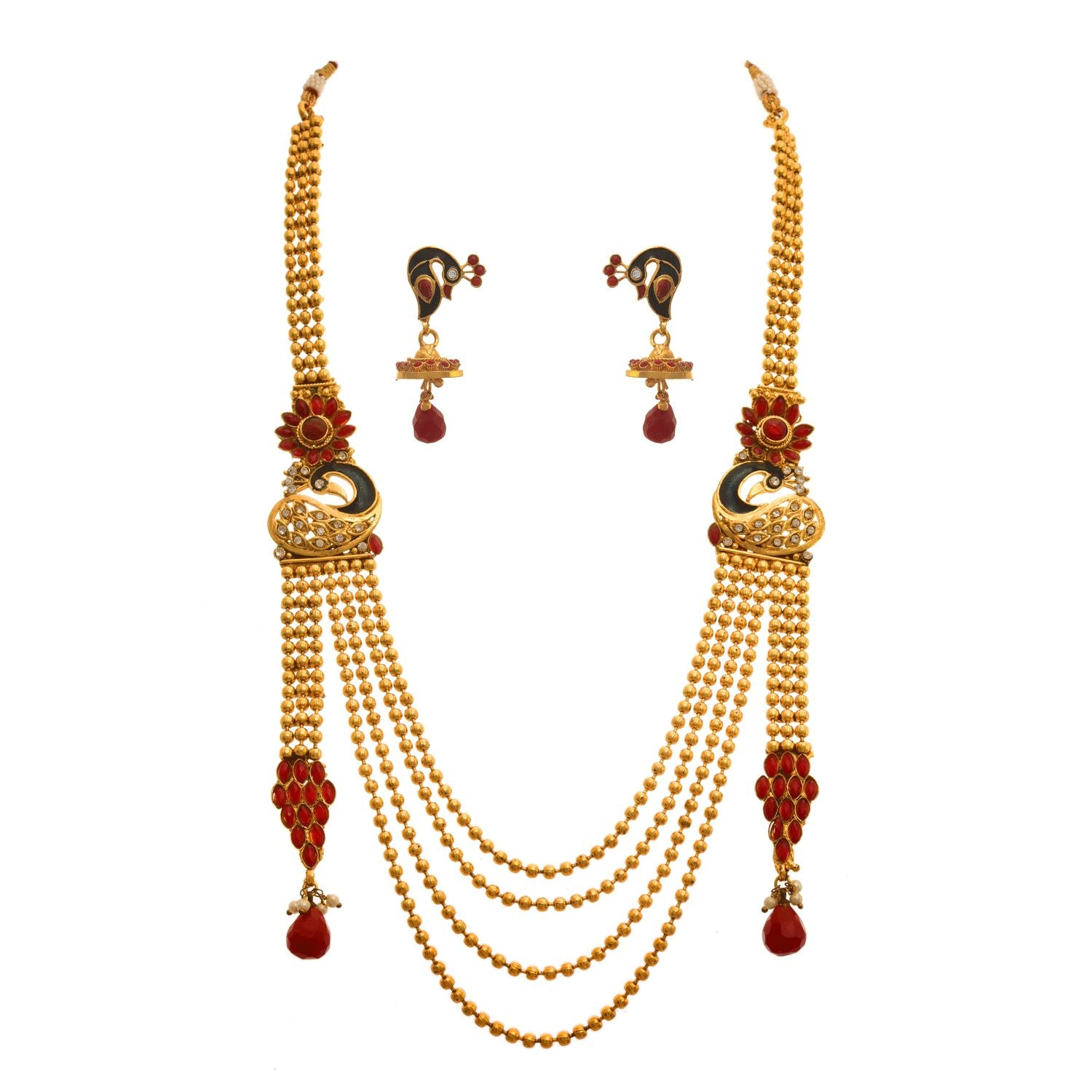 JFL - Traditional and Ethnic One Gram Gold Plated Stones Flower Designer Long Necklace Set with Earring for Women & Girls.