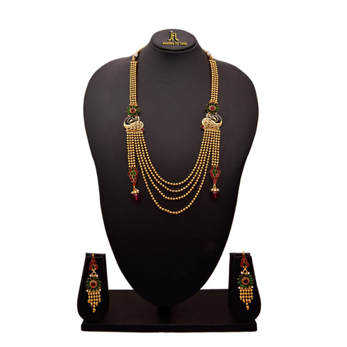 JFL - Traditional and Ethnic One Gram Gold Plated Stones & Diamonds Peacock Designer Long Necklace Set with Earring for Women & Girls.