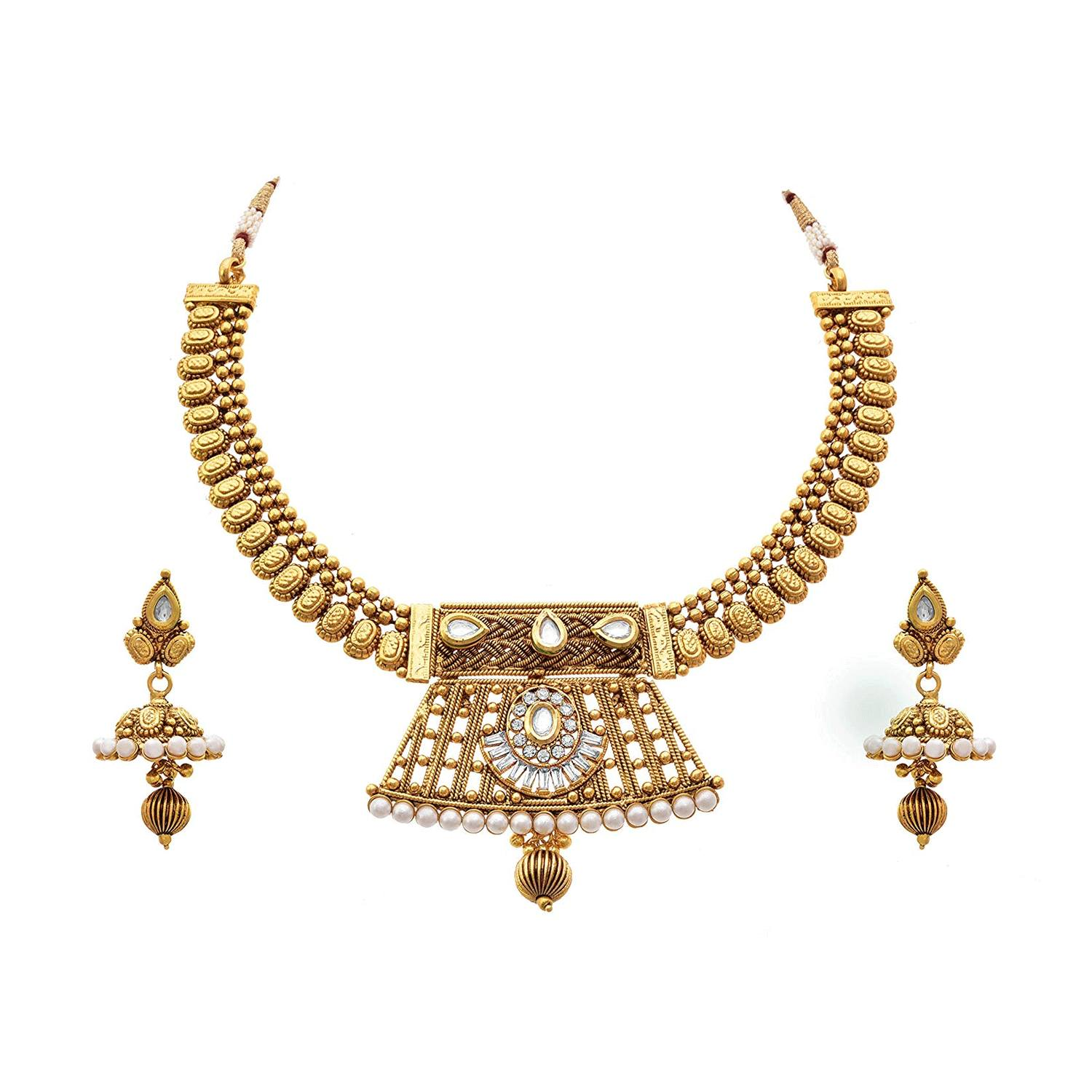 JFL - Traditional Ethnic One Gram Gold Plated Kundan, Pearls & Diamonds Designer Necklace Set with Jhumka Earring for Women & Girls.