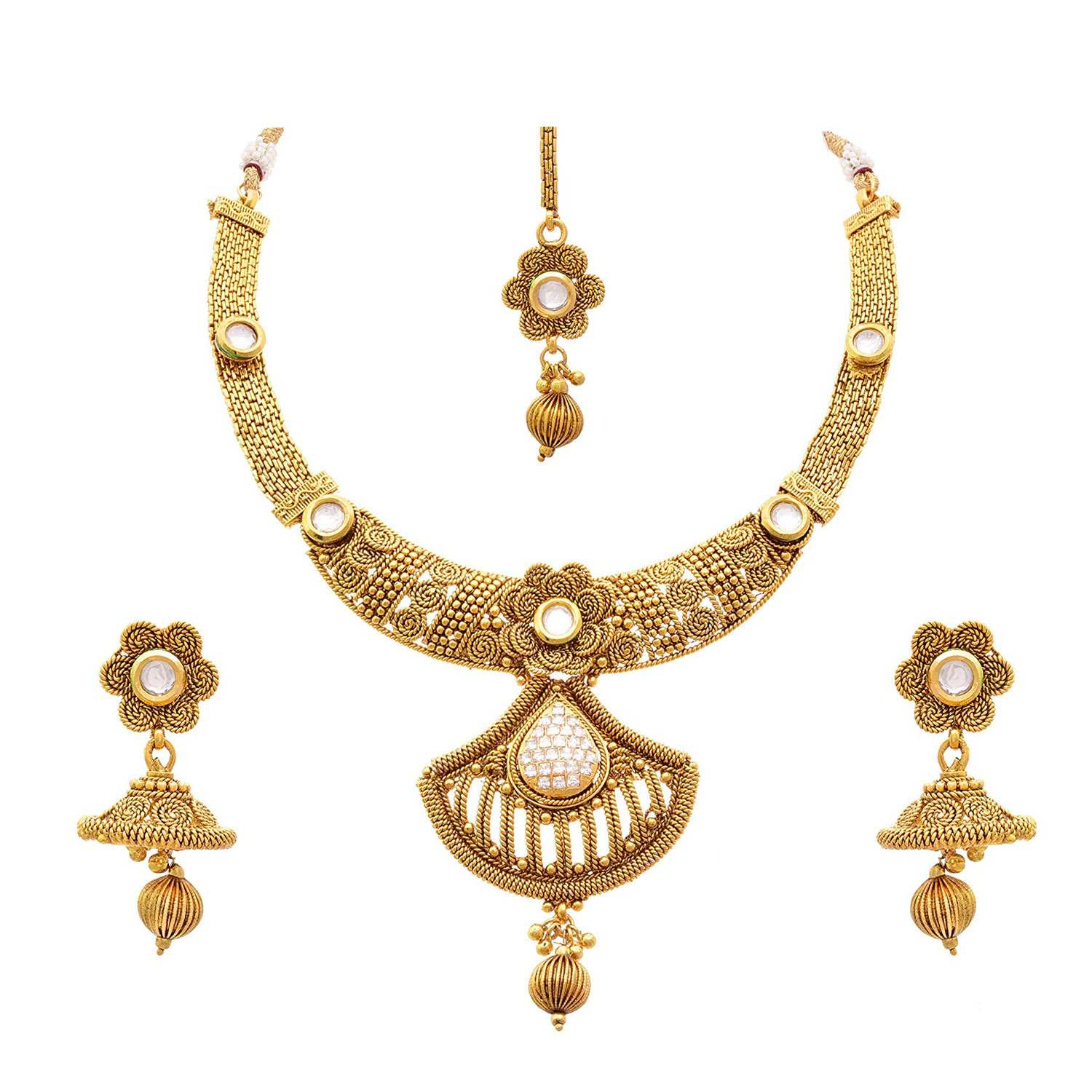 JFL - Traditional Ethnic One Gram Gold Plated Spiral Diamond Designer Necklace Set with Earring for Women and Girls