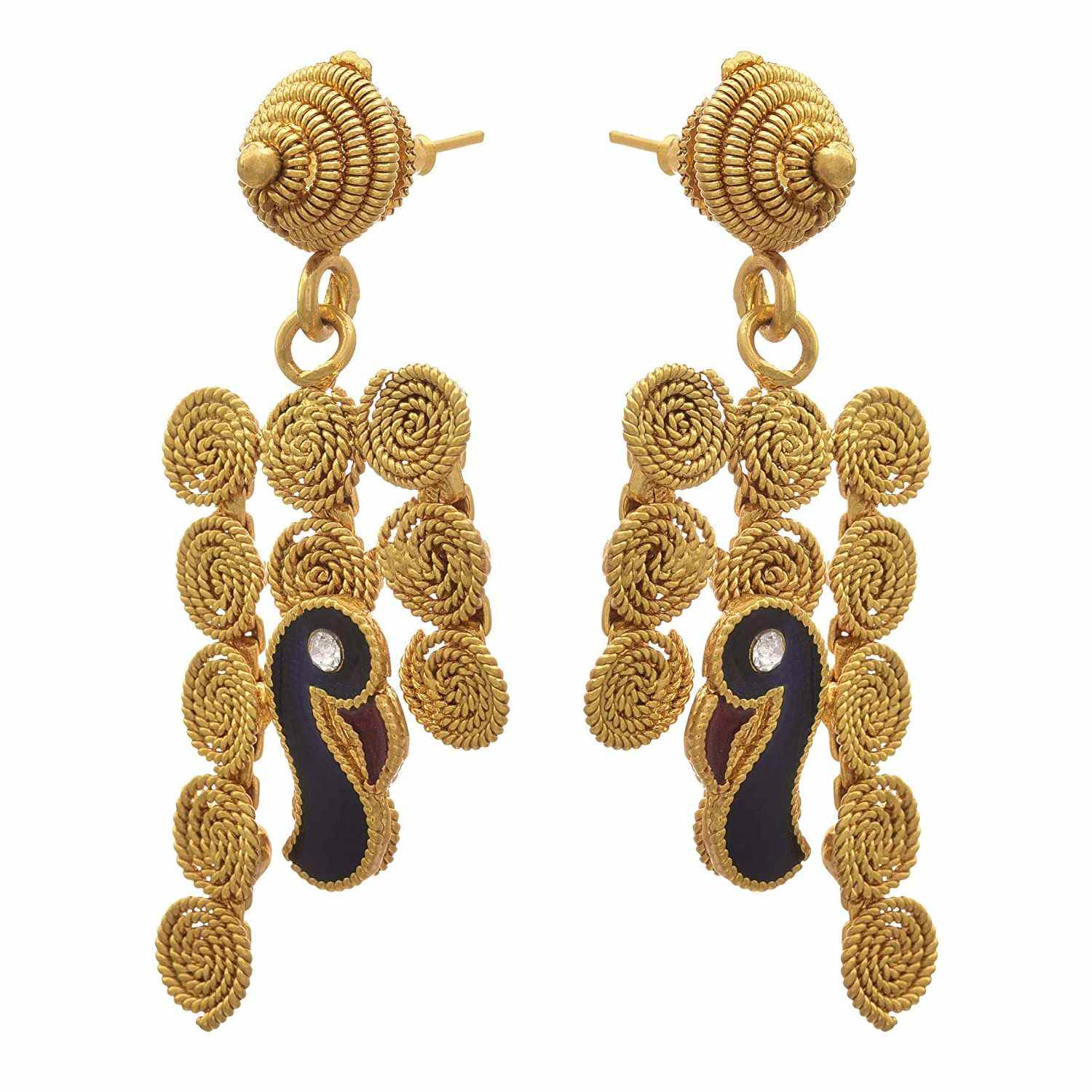 JFL - Traditional Ethnic One Gram Gold Plated Stone Spiral Peacock Designer Necklace Set with Earring for Women and Girls.