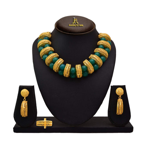 JFL - Jewellery For Less Traditional Ethnic One Gram Gold Plated  Bead Necklace Set With Earring For Women