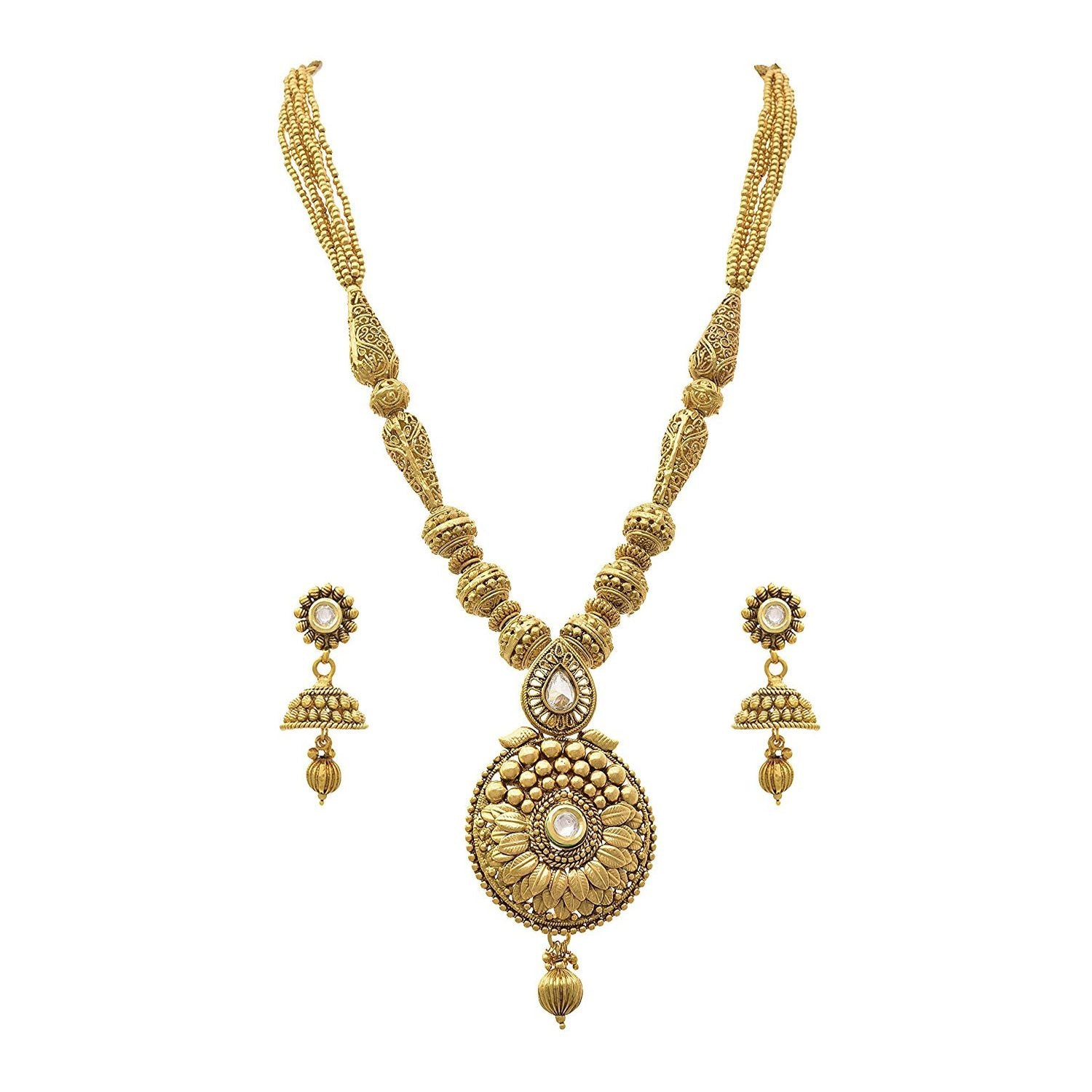 JFL - Traditional Ethnic One Gram Gold Plated Beads Designer Necklace Set for Women & Girls.