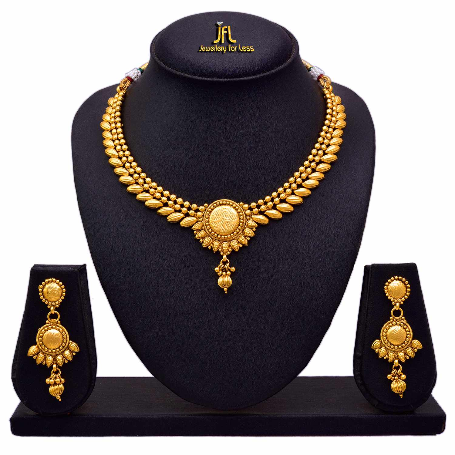JFL - Traditional Ethnic One Gram Gold Plated Bead Designer Necklace / Jewellery Set with Earring for Women & Girls