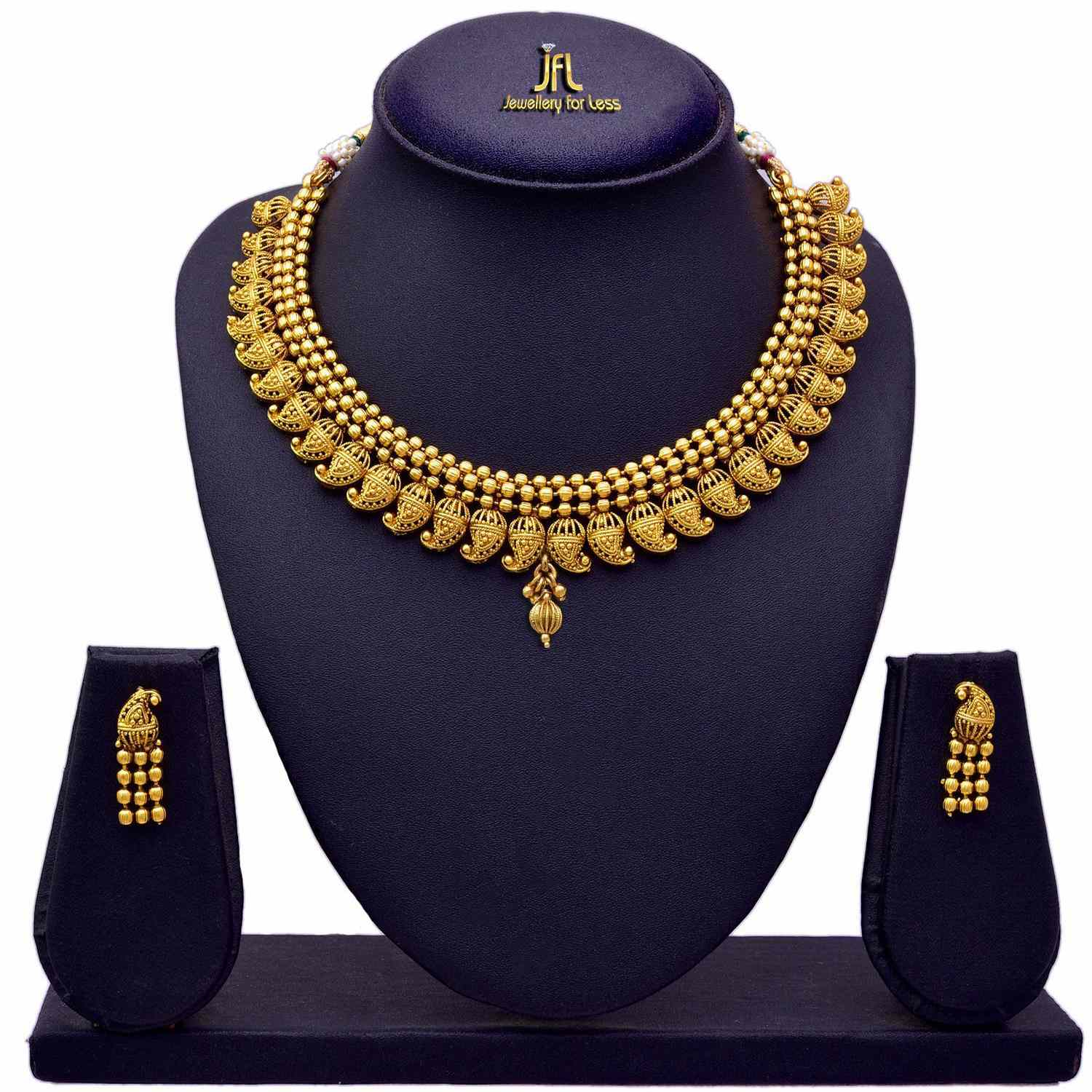 Traditional And Ethnic One Gram Gold Plated Kaerie Necklace / Jewellery Set With Earring For Women