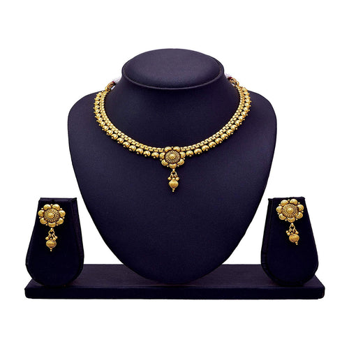 Jfl - Jewellery For Less Traditional and Ethnic One Gram Gold Plated Floral Necklace Set with Earring for Women