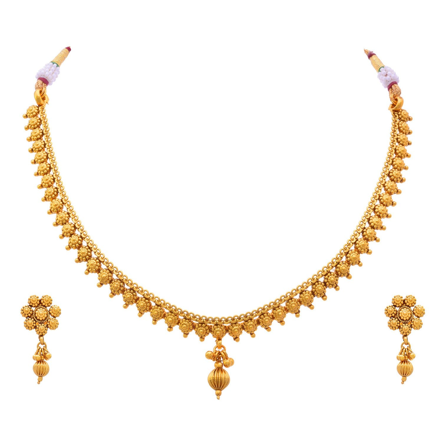 Traditional Ethnic One Gram Gold Plated Delicate Necklace Set / Jewellery Set For Women