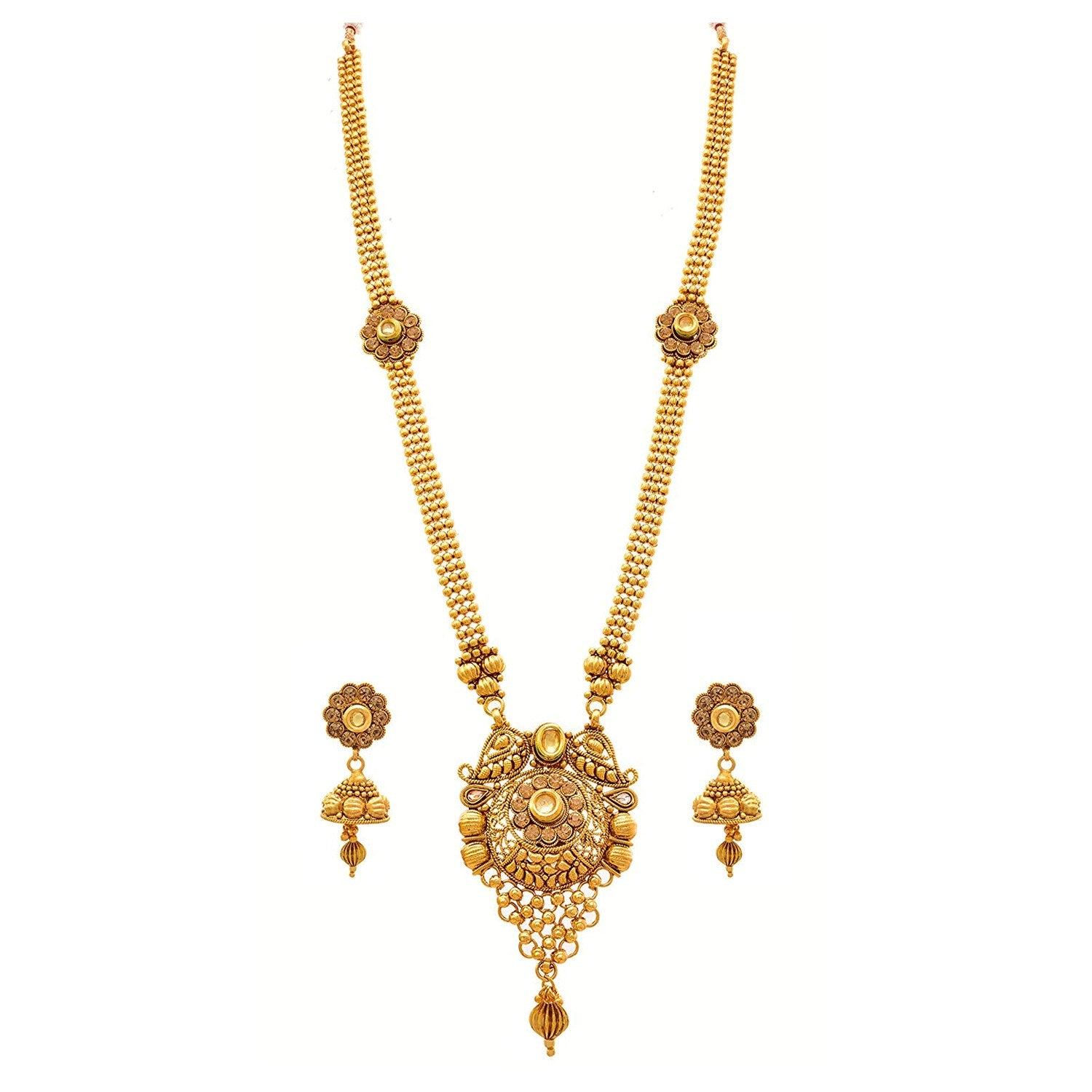 JFL - Traditional Ethnic One Gram Gold Plated LCD Champagne Kundan Diamonds Designer Long Necklace Set / Jewellery Set for Women & Girls