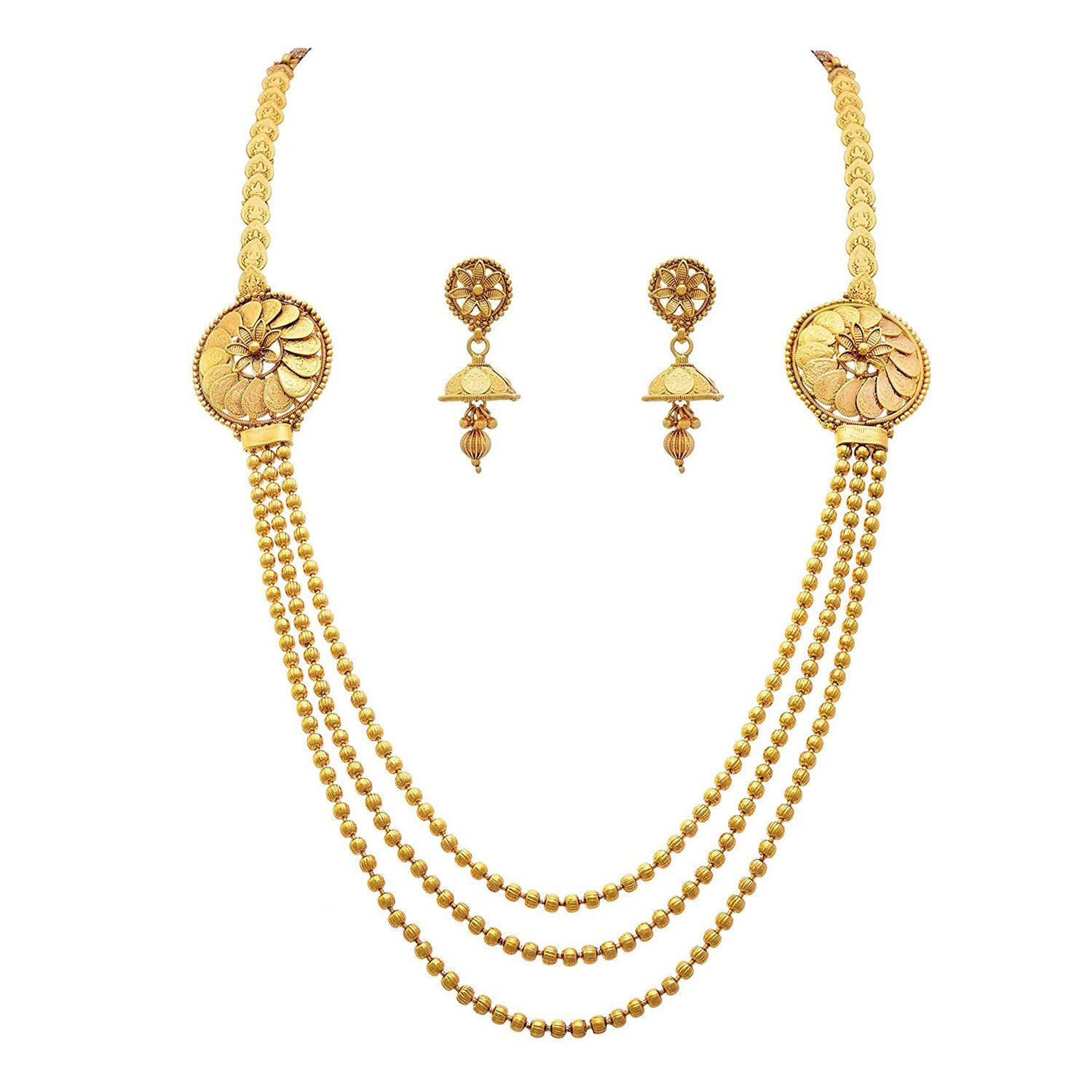 JFL - Traditional Ethnic Temple One Gram Gold Plated Mahalaxmi Bead Designer Necklace Set with Jhumka Earring for Women & Girls
