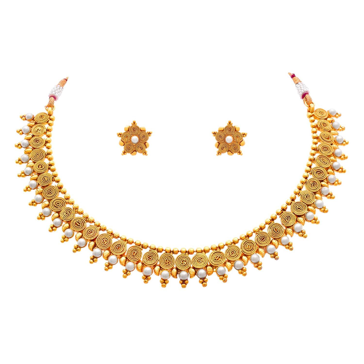 JFL - Jewellery For Less Traditional & Ethnic Stunning Spiral One Gram Gold Plated Pearl Necklace Set With Earring For Women