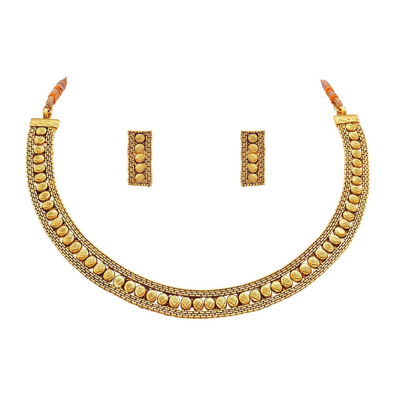 JFL -Jewellery For Less Traditional And Ethnic One Gram Gold Plated Patta Necklace Set With Earring For Women