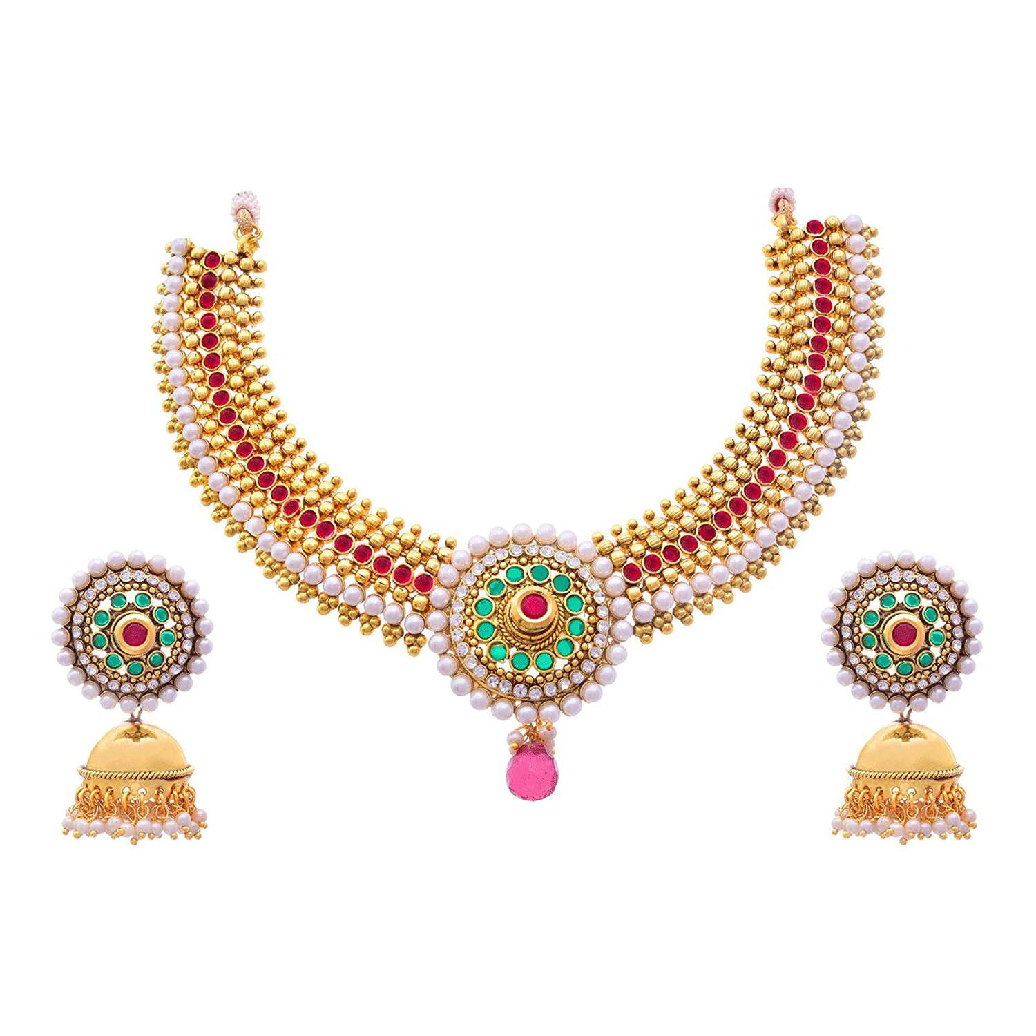 JFL - Traditional and Ethnic One Gram Gold Plated Stone White Pearl Designer Necklace / Jewellery Set for Girls and Women