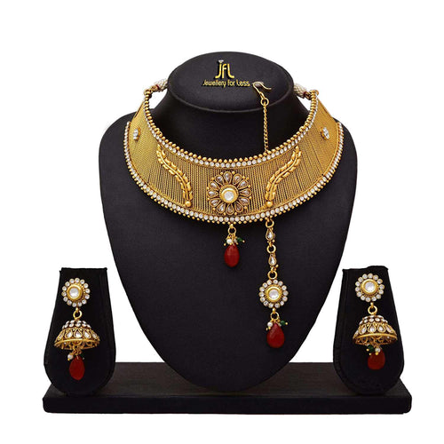 JFL - Traditional Ethnic One Gram Gold Plated Kundan Diamonds Designer Semi Bridal Dulhan Necklace Set / Jewellery Set for Women & Girls