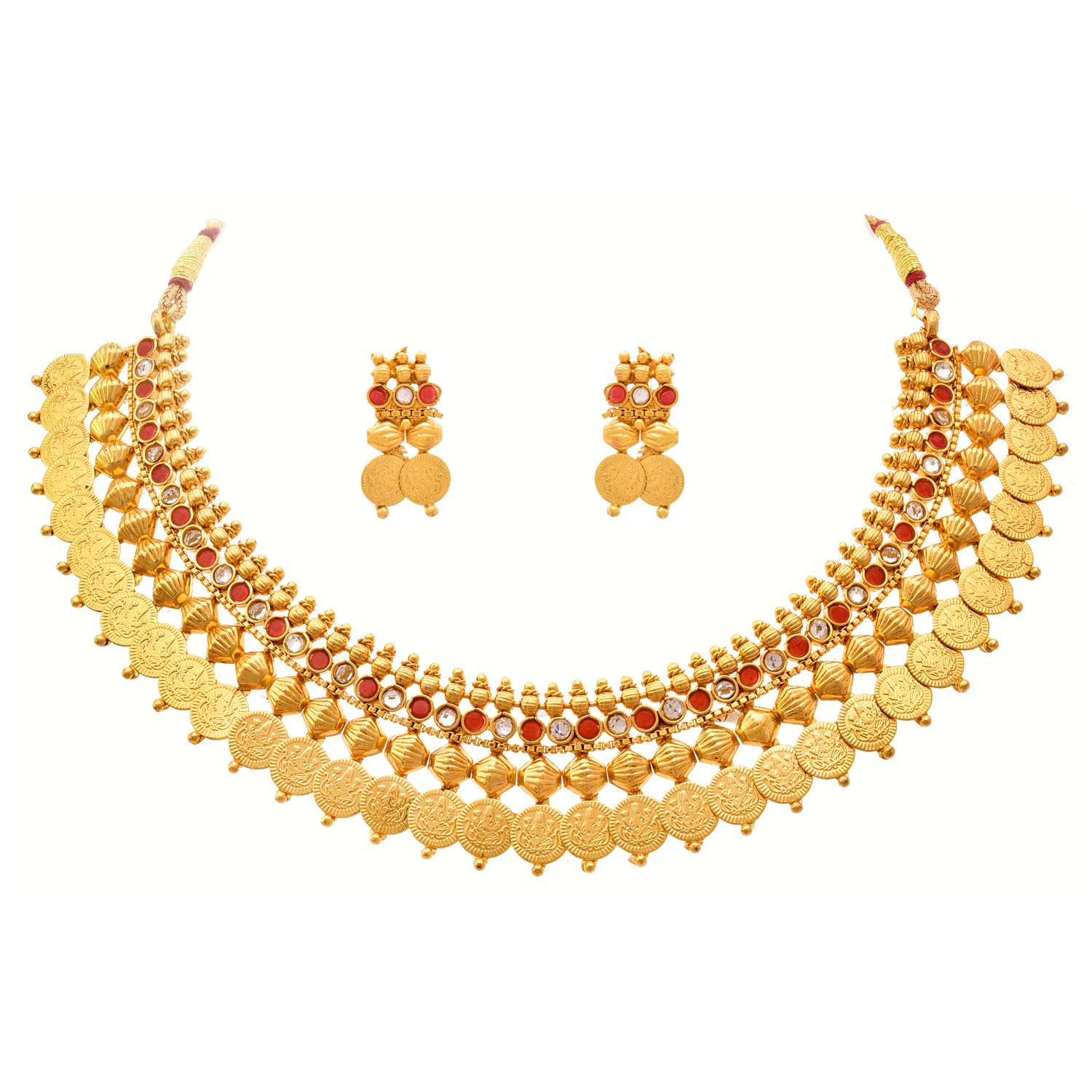 JFL - Jewellery For Less Goddess Laxmi One Gram Gold Plated Coin Necklace Set / Jewellery Set Studded With Red Stones & Polki For Girls & Women