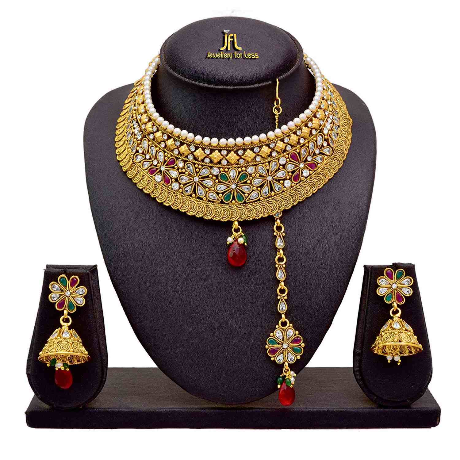 JFL - Traditional Ethnic One Gram Gold Plated Polki Diamonds Pearls Designer Semi Bridal Dulhan Necklace Set / Jewellery Set for Women & Girls
