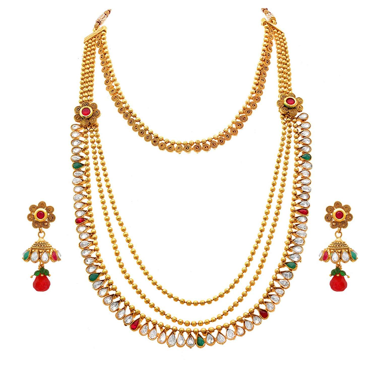 JFL - Traditional Ethnic One Gram Gold Plated Polki, Gold Bead & Spiral Red Stone Designer Long Necklace Set for Women & Girls