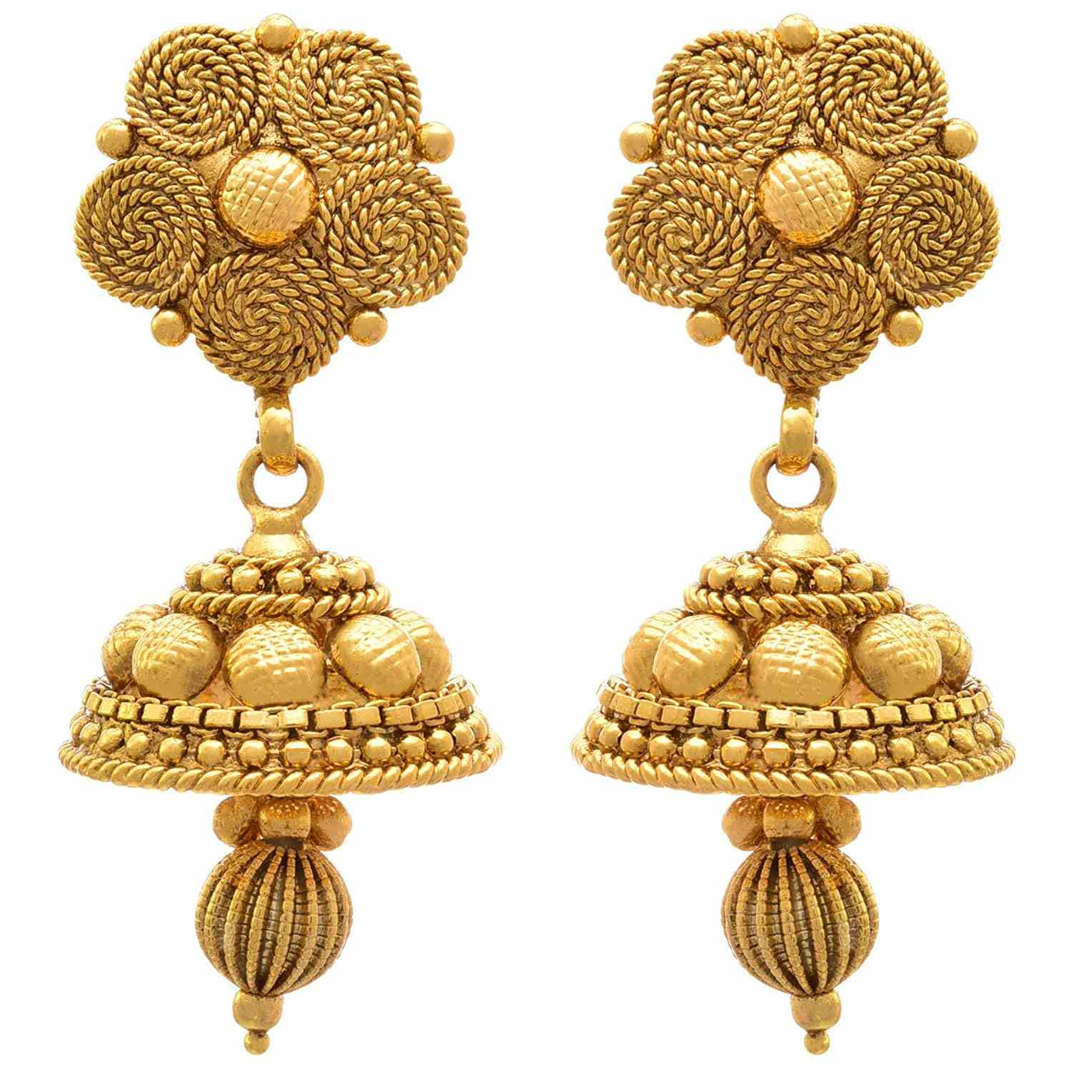 One Gram Gold Plated Spiral Necklace Set / Jewellery Set With Jhumka Earring For Women