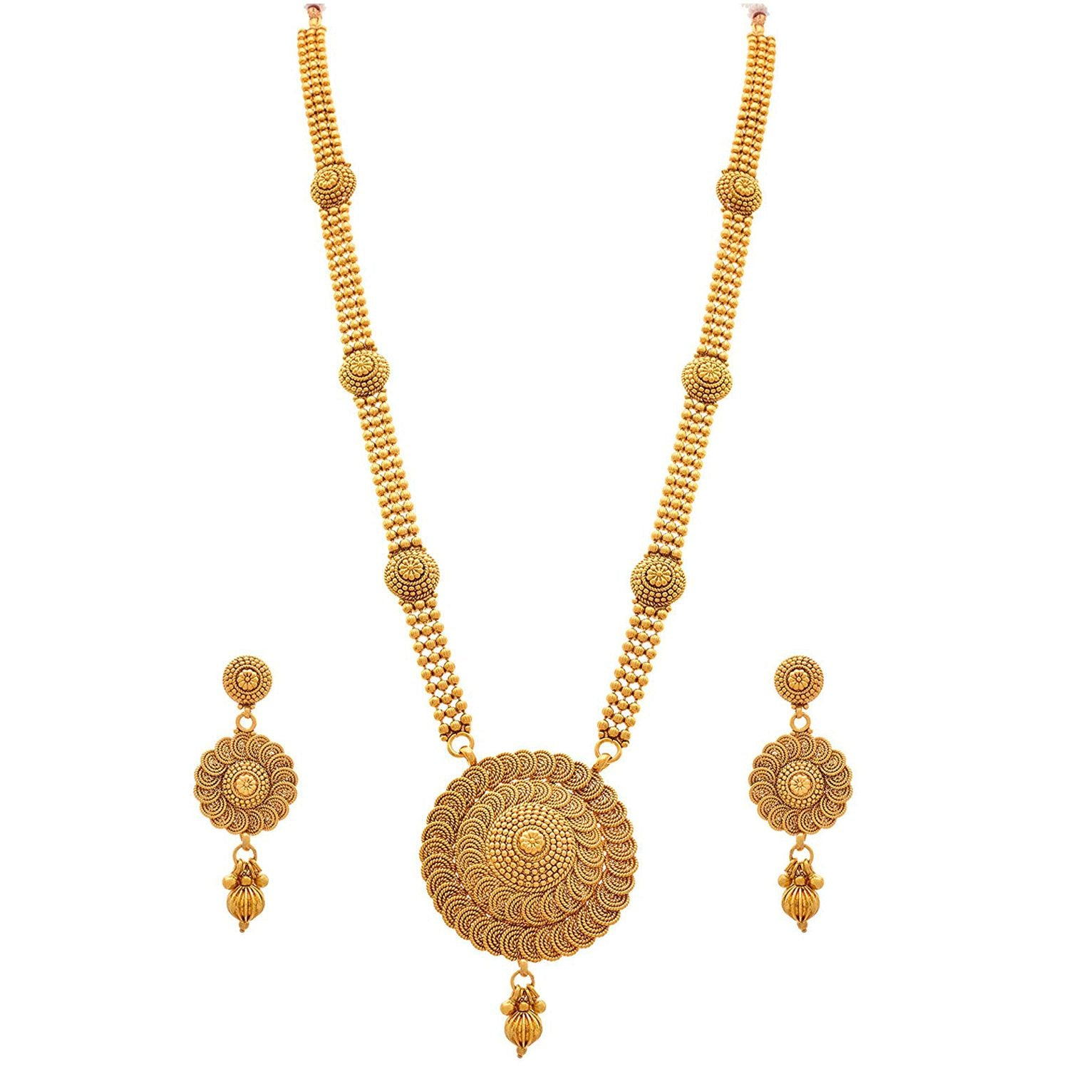 JFL - Jewellery For Less Traditional Ethnic One Gram Gold Plated Spiral Bead Long Necklace Set For Women