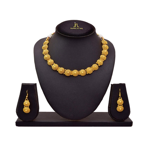 JFL - Jewellery for Less Gold Copper Spiral Bead Necklace Set with Earrings for Women