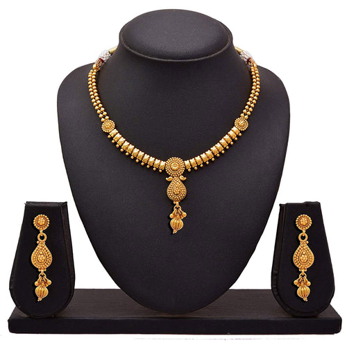 BFC - Buy For Change Ethnic One Gram Gold Plated Designer Necklace Set with long Earrings For Woman and Girls