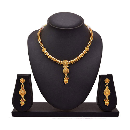 JFL - Jewellery For Less Traditional Ethnic One Gram Gold Plated Necklace Set With Earring For Women